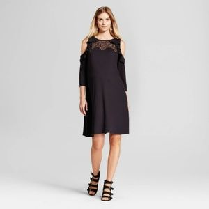 Maternity cold shoulder ruffle dress